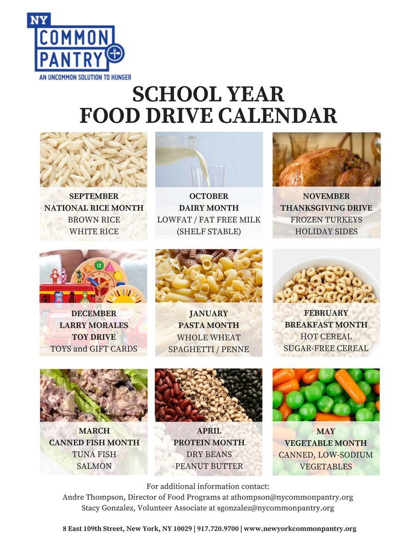 School Food Drive Calendar New York Common Pantry